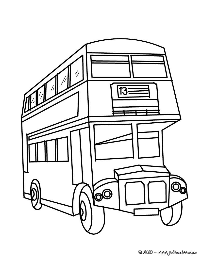 Coloriages bus de tourisme colorier - Coloriage car anglais ...
