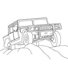 Pick up dans le desert à colorier - Coloriage - Coloriage VEHICULES - Coloriage CAMION - Coloriage PICK UP