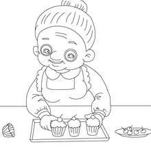 Grand-mre fait des cupcakes  colorier - Coloriage - Coloriage FETES - Coloriage FETE DES GRANDS MERES