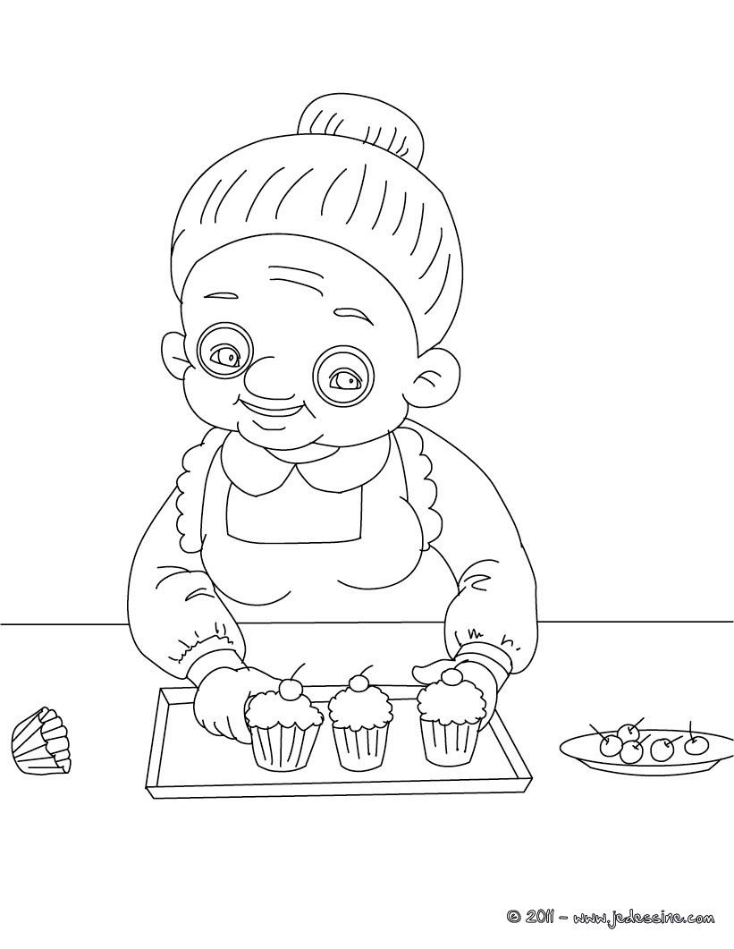Coloriages grand m re fait des cupcakes colorier - Grand dessin a colorier ...