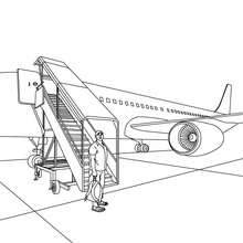Embarquement avion de ligne à colorier - Coloriage - Coloriage VEHICULES - Coloriage AVION - Coloriage AVION DE LIGNE