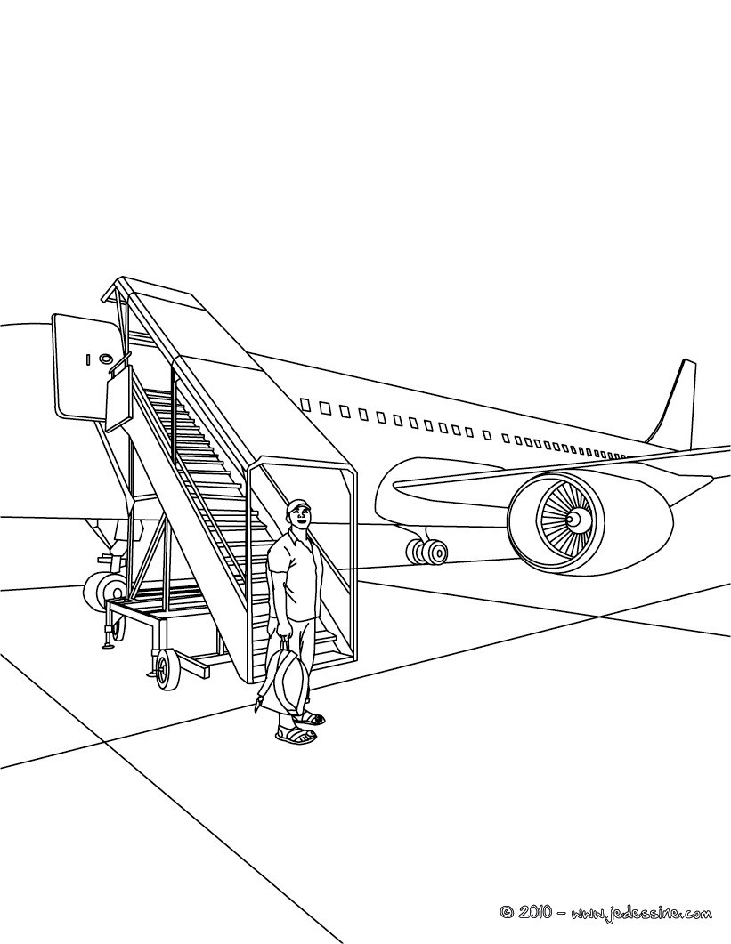 Coloriages embarquement avion de ligne colorier fr - Coloriage d avion ...