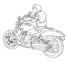 Coloriage : Moto cruiser et motard à colorier