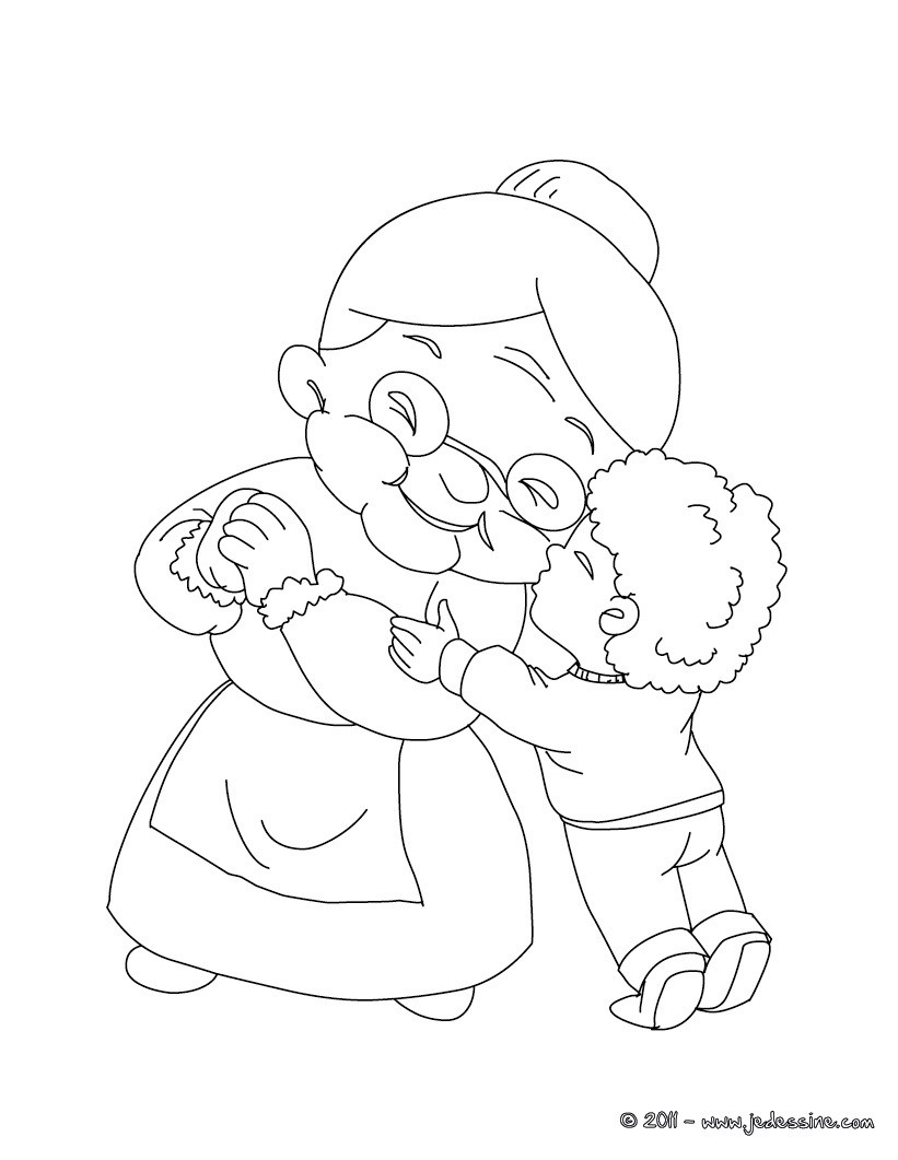 Coloriage d'un bisou à sa mamie