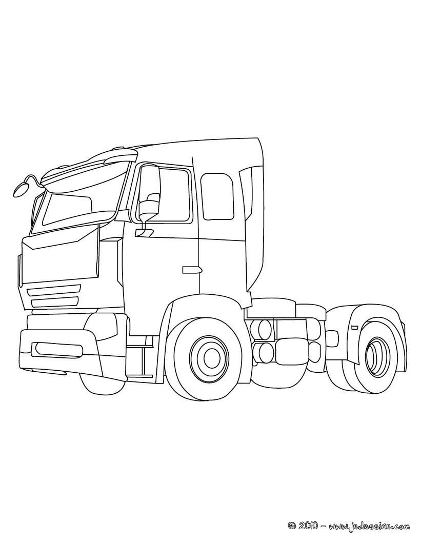 Coloriage : Cabine de camion de livraison à colorier