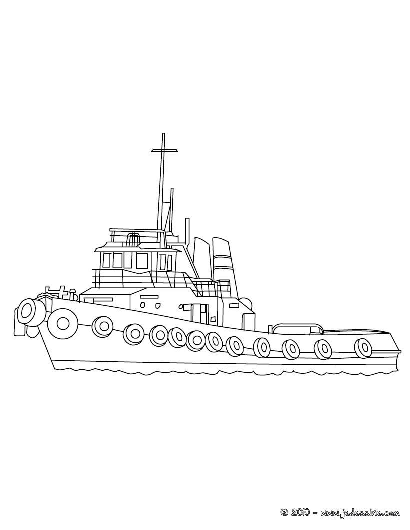 Coloriage Grand bateau de pªche  colorier