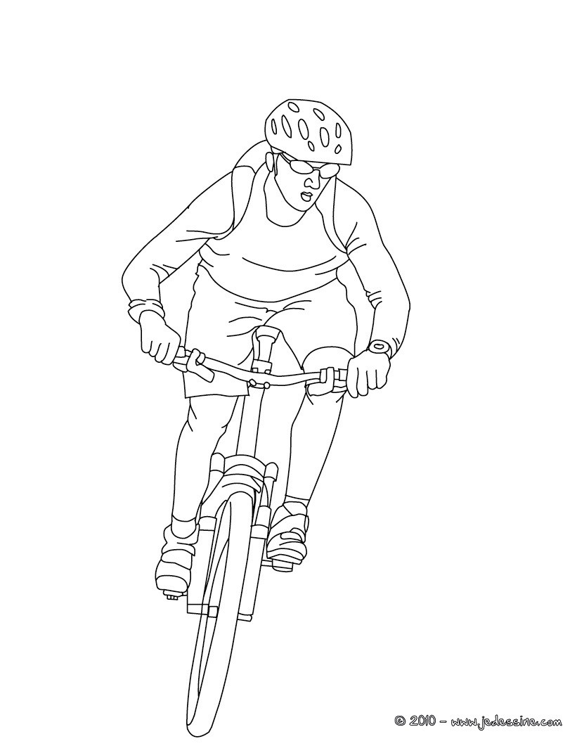Coloriages coloriage cycliste sur vtt imprimer - Dessin velo vtt ...