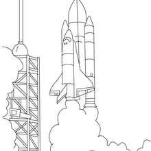 Décollage d'une navette spatiale à colorier - Coloriage - Coloriage VEHICULES - Coloriage VEHICULES DE L'ESPACE - Coloriage FUSEE