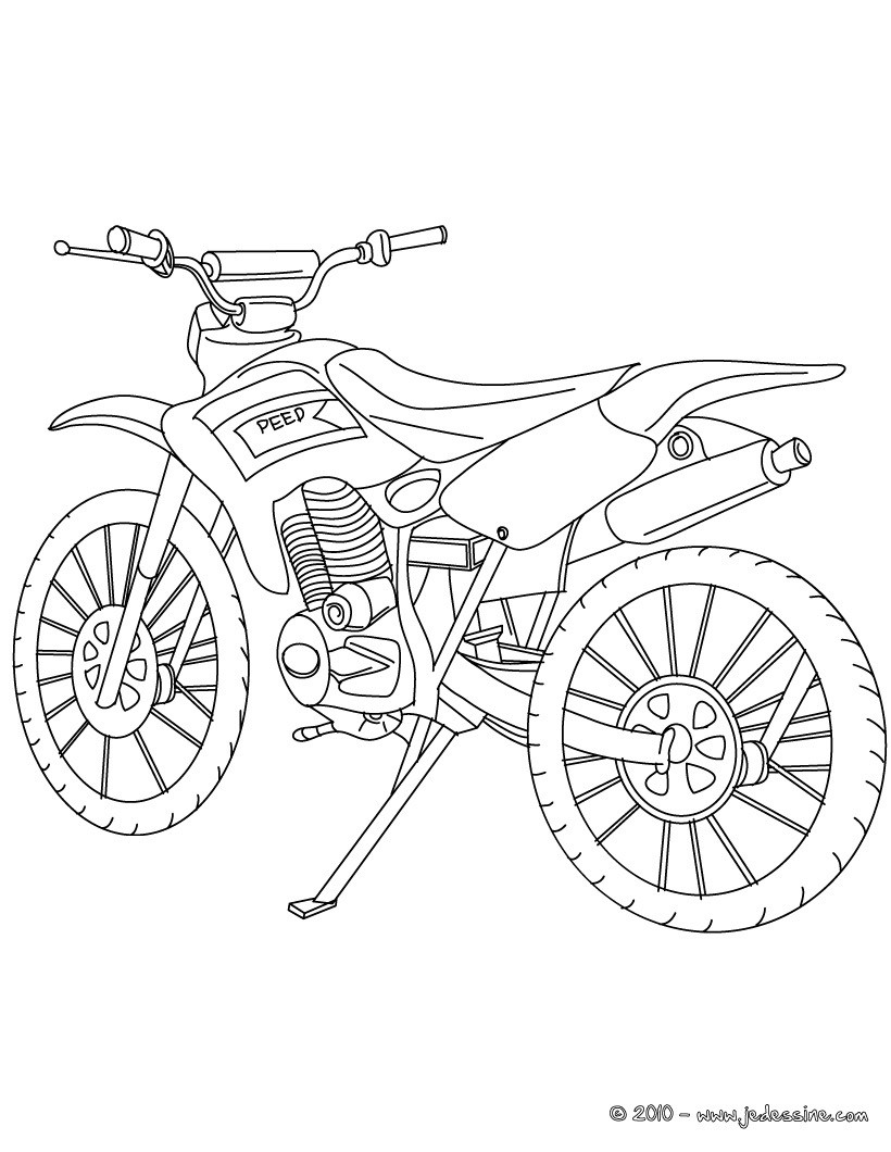 Coloriages coloriage moto cross profil - Dessin moto ktm a colorier ...