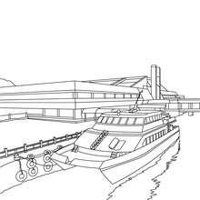 Coloriage Yacht à quai gratuit - Coloriage - Coloriage VEHICULES - Coloriage BATEAU - Coloriage YACHT