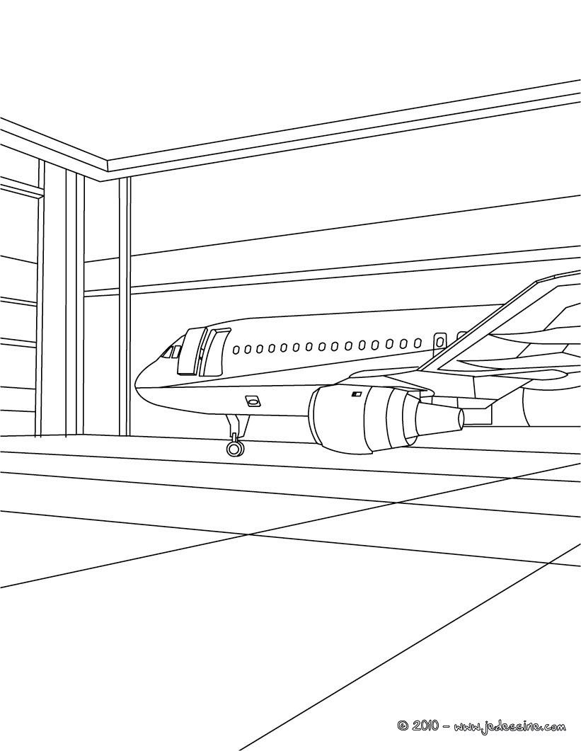 Coloriage : Avion de ligne à l'aéroport colorier