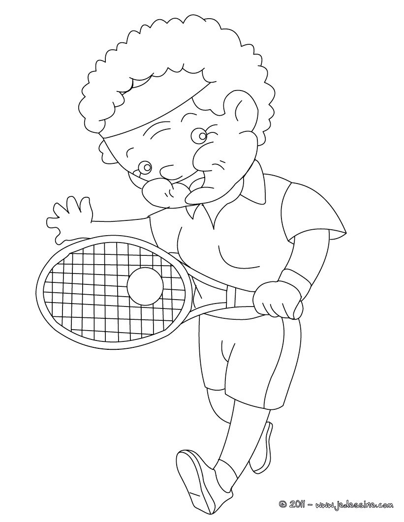 Coloriage de mamie au tennis