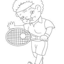 Coloriage de mamie au tennis - Coloriage - Coloriage FETES - Coloriage FETE DES GRANDS MERES
