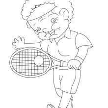 Coloriage de mamie au tennis - Coloriage - Coloriage FETES - Coloriage FETE DES GRANDS MERES