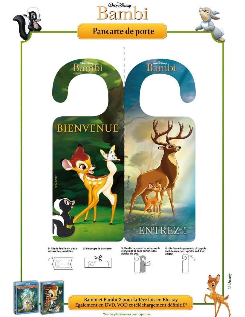 Préférence Activités manuelles pancarte de porte bambi - fr.hellokids.com MA14