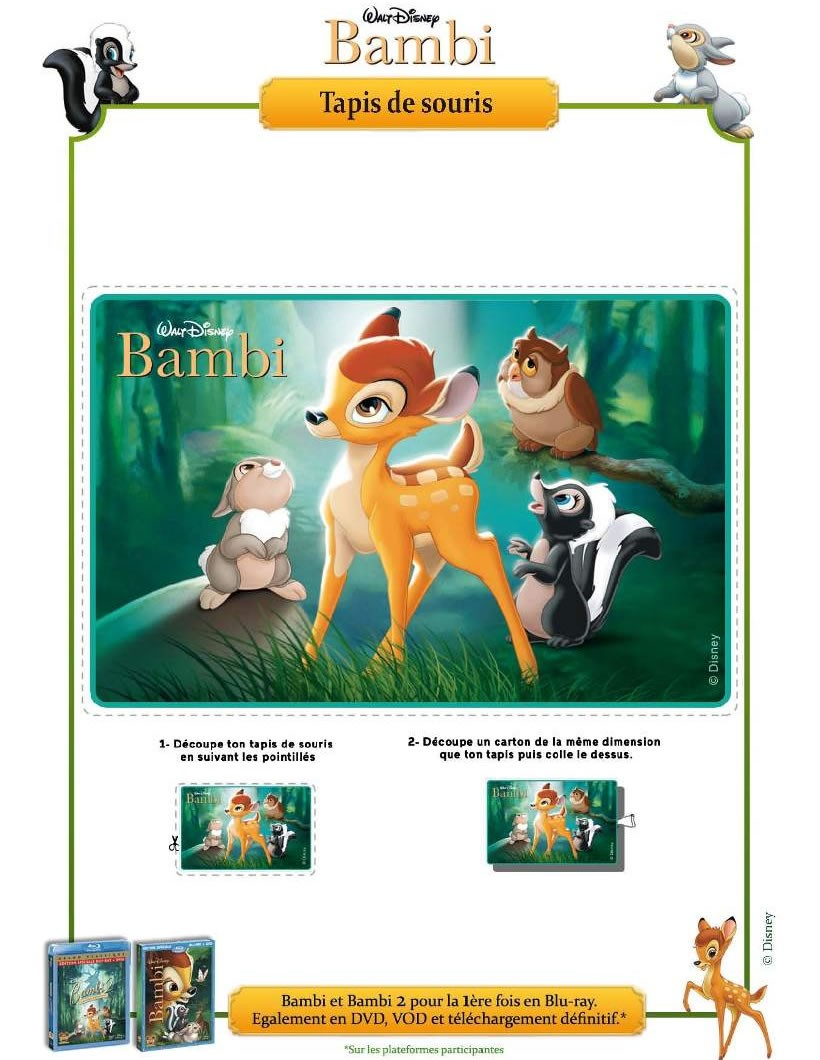 activit s manuelles tapis de souris bambi. Black Bedroom Furniture Sets. Home Design Ideas