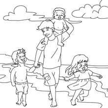 Coloriage papa à la plage gratuit