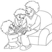 Coloriage papa lit une histoire gratuit - Coloriage - Coloriage FETES - Coloriage FETE DES PERES - Coloriage FETE DES PERES