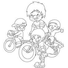 Coloriage papa fait du vélo gratuit - Coloriage - Coloriage FETES - Coloriage FETE DES PERES - Coloriage FETE DES PERES
