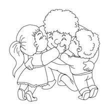 Coloriage papa et ses enfants gratuit - Coloriage - Coloriage FETES - Coloriage FETE DES PERES - Coloriage FETE DES PERES