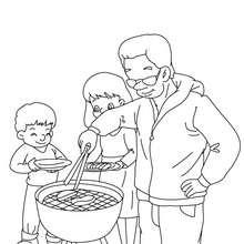 Coloriage papa fait un barbecue gratuit - Coloriage - Coloriage FETES - Coloriage FETE DES PERES - Coloriage FETE DES PERES