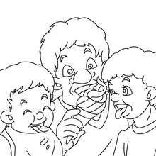 Coloriage papa mange une glace gratuit - Coloriage - Coloriage FETES - Coloriage FETE DES PERES - Coloriage FETE DES PERES