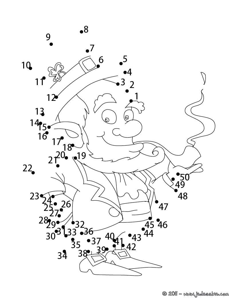 Jeu de points à relier : Leprechaun de la Saint Patrick
