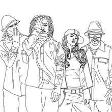 Groupe Black Eyed Peas à colorier - Coloriage - Coloriage DE STARS - Coloriage BLACK EYED PEAS