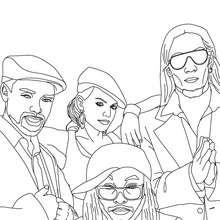 Membres des Black Eyed Peas à colorier - Coloriage - Coloriage DE STARS - Coloriage BLACK EYED PEAS