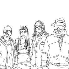 Membres Black Eyed Peas à imprimer - Coloriage - Coloriage DE STARS - Coloriage BLACK EYED PEAS