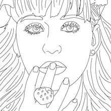 Portrait Katy Perry à colorier - Coloriage - Coloriage DE STARS - Coloriage KATY PERRY