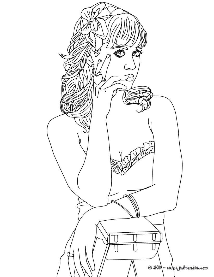 Coloriage : Portrait Katy Perry fleur