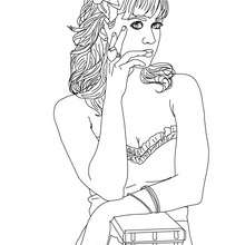 Portrait Katy Perry fleur - Coloriage - Coloriage DE STARS - Coloriage KATY PERRY