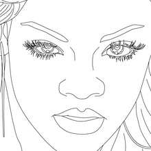 Coloriage Rihanna portrait gratuit - Coloriage - Coloriage DE STARS - Coloriage RIHANNA