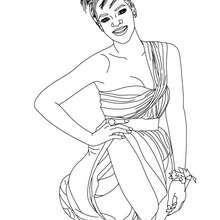Coloriage Rihanna robe soir gratuit