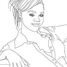 Coloriage Rihanna cheveux long gratuit - Coloriage - Coloriage DE STARS - Coloriage RIHANNA