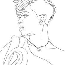 Coloriage Rihanna profil à imprimer - Coloriage - Coloriage DE STARS - Coloriage RIHANNA