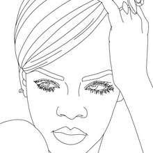 Coloriage Rihanna chignon gratuit - Coloriage - Coloriage DE STARS - Coloriage RIHANNA