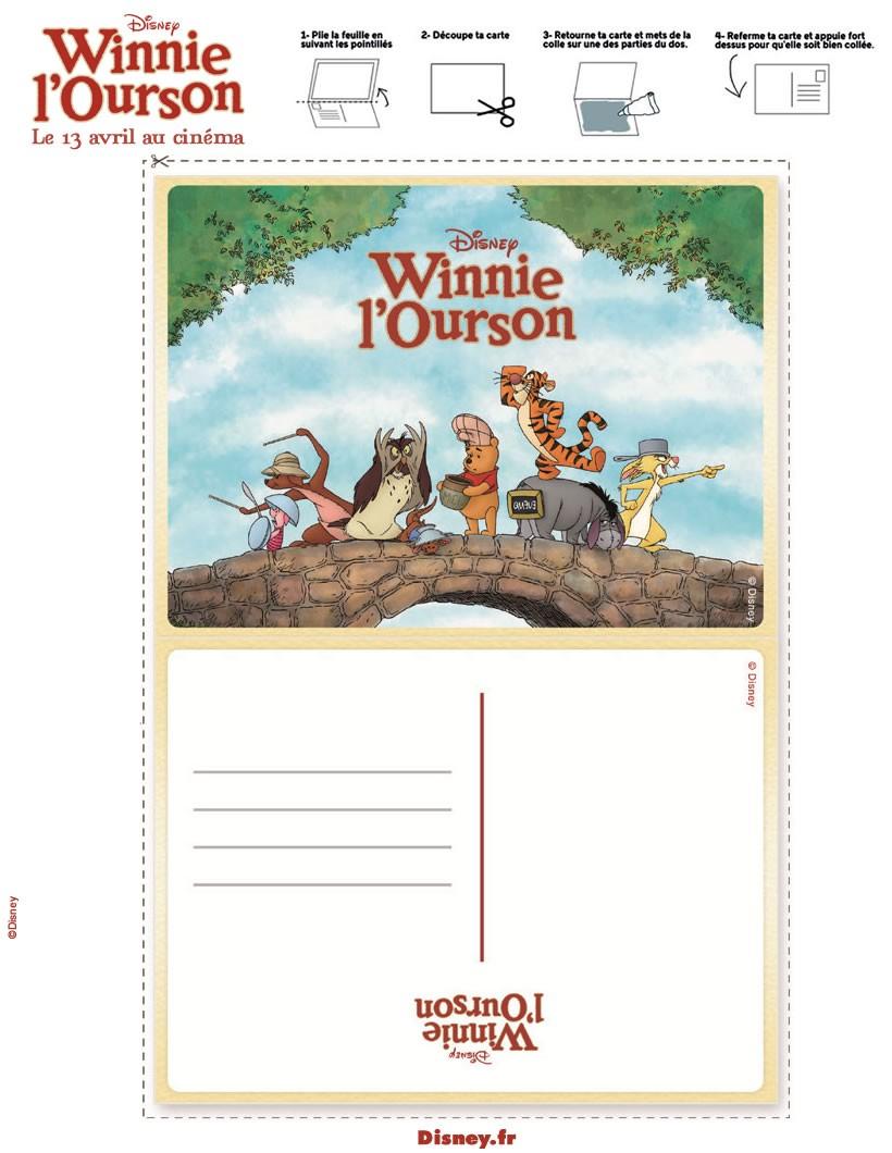 activit s manuelles carte postale winnie l 39 ourson. Black Bedroom Furniture Sets. Home Design Ideas