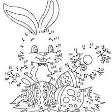 Jeu de points à relier : Petit lapin de pâques