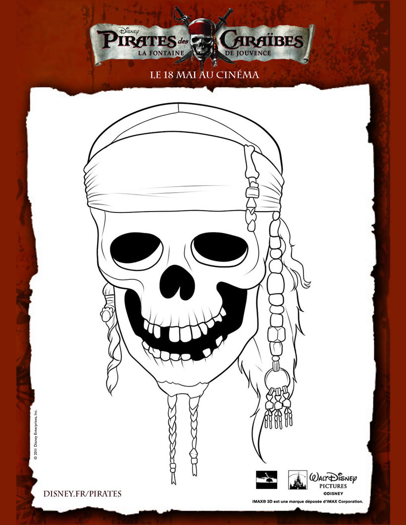 Coloriages cr ne de pirates des cara bes - Tete de pirate dessin ...