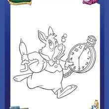 Coloriage Disney : Coloriage du lapin et sa montre