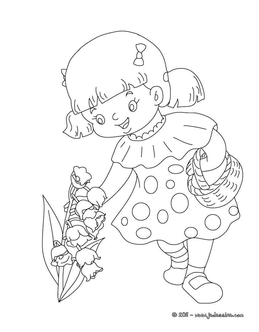 Coloriages fillette au muguet coloriage imprimer fr - Muguet dessin ...