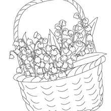 Panier Muguet Coloriage  imprimer - Coloriage - Coloriage NATURE - Coloriage FLEUR - Coloriage MUGUET