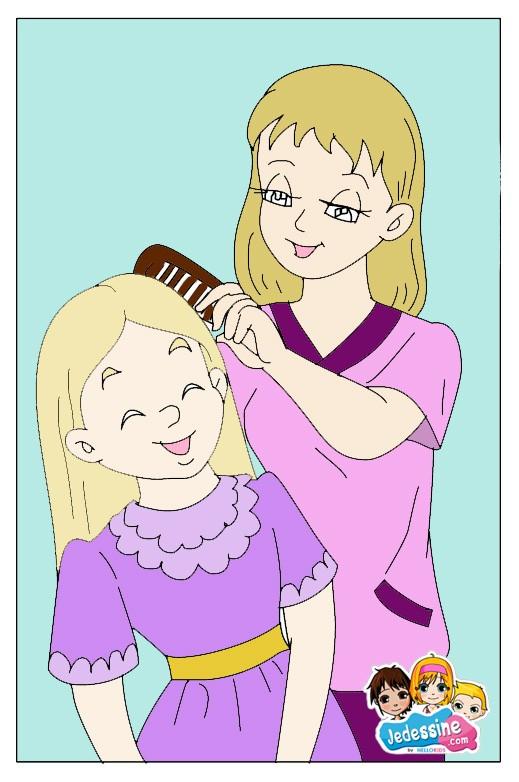 Comment dessiner dessin maman me coiffe - Comment dessiner un enfant ...