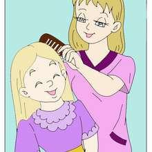 Dessin d'enfant : Dessin maman me coiffe