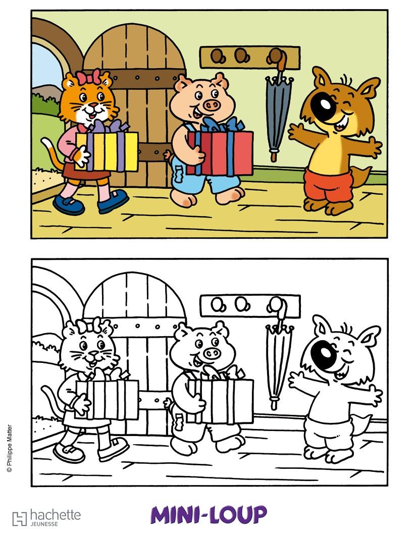 Coloriages des cadeaux pour mini loup - Mini loup coloriage ...
