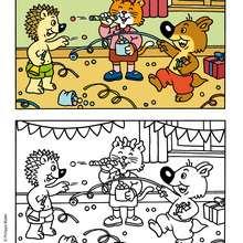 La fête de MINI-LOUP - Coloriage - Coloriage DESSINS ANIMES - Coloriage MINI-LOUP