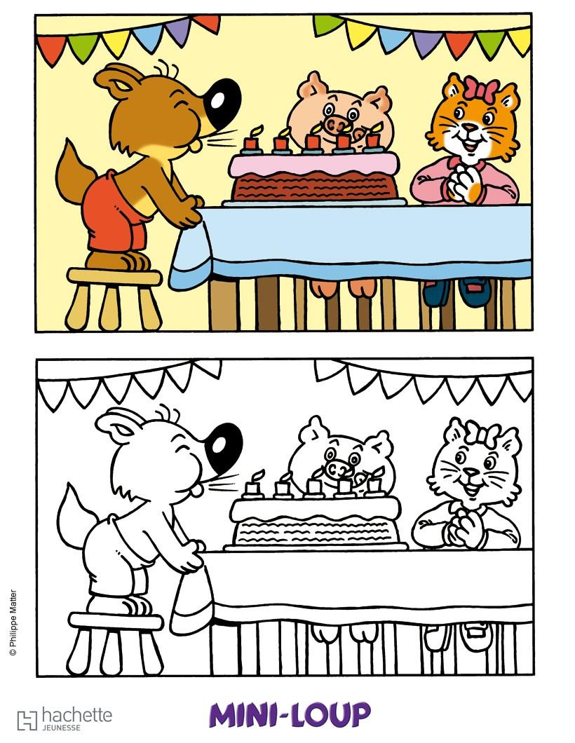 Coloriages l 39 anniversaire de mini loup - Mini coloriage ...