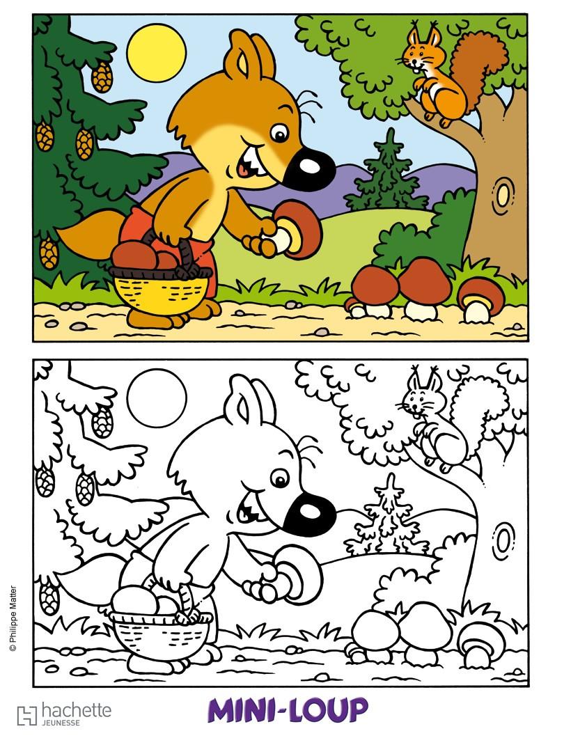 Coloriage enfant et loup - Coloriages loup ...